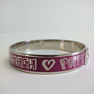 Coach Poppy bangle bracelet pink & silver tone